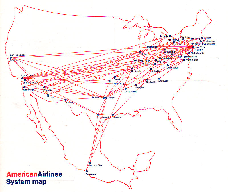 American Airlines - Map of flights between us and mexico