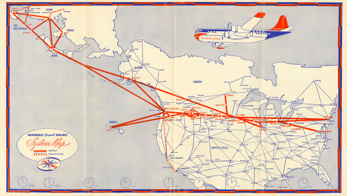 Northwest Airlines - Collectors Guide to Airline Timetables on air florida route map, southwest airtran route map, southern airways route map, british airways route map, south west route map, britannia airways route map, south west airlines seat map, braniff international route map, south west airline from seattle map, southwest airlines flight routes map,