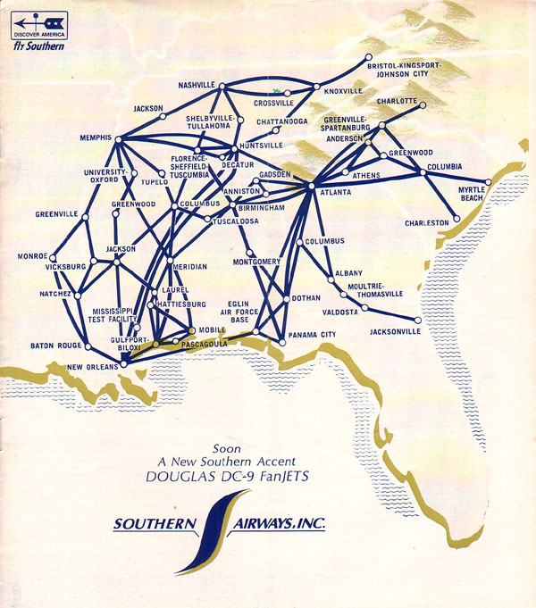 Southern Airways on air florida route map, southwest airtran route map, southern airways route map, british airways route map, south west route map, britannia airways route map, south west airlines seat map, braniff international route map, south west airline from seattle map, southwest airlines flight routes map,