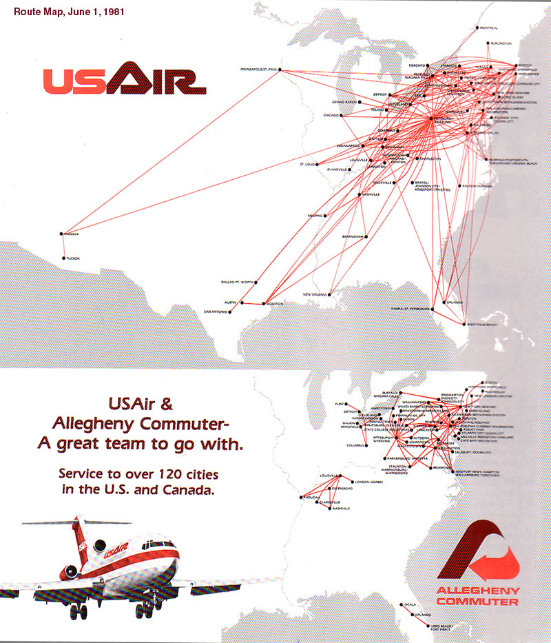 US Airways - Us airways direct flights map
